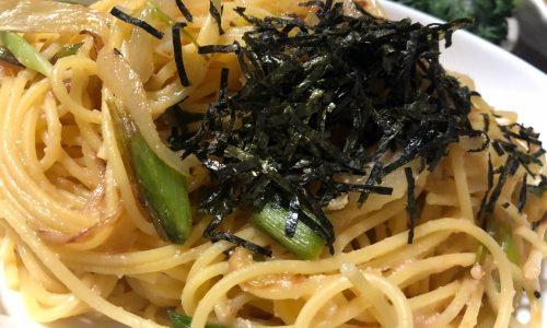 【収穫後料理】葉ニンニクのたらこパスタ/ジャガイモスープ